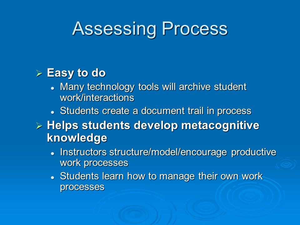 Assessing Process Easy to do