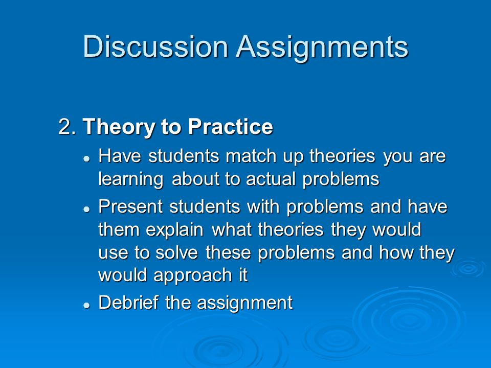 Discussion Assignments