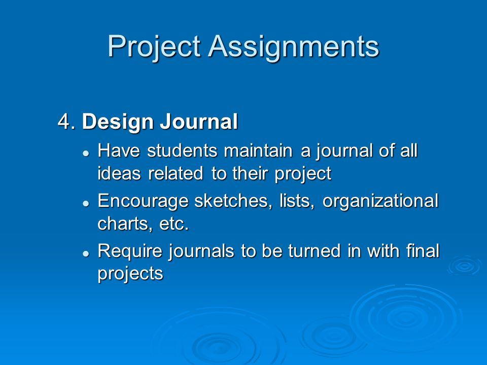Project Assignments 4. Design Journal