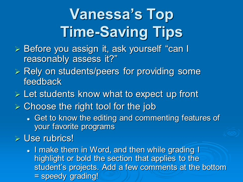 Vanessa's Top Time-Saving Tips
