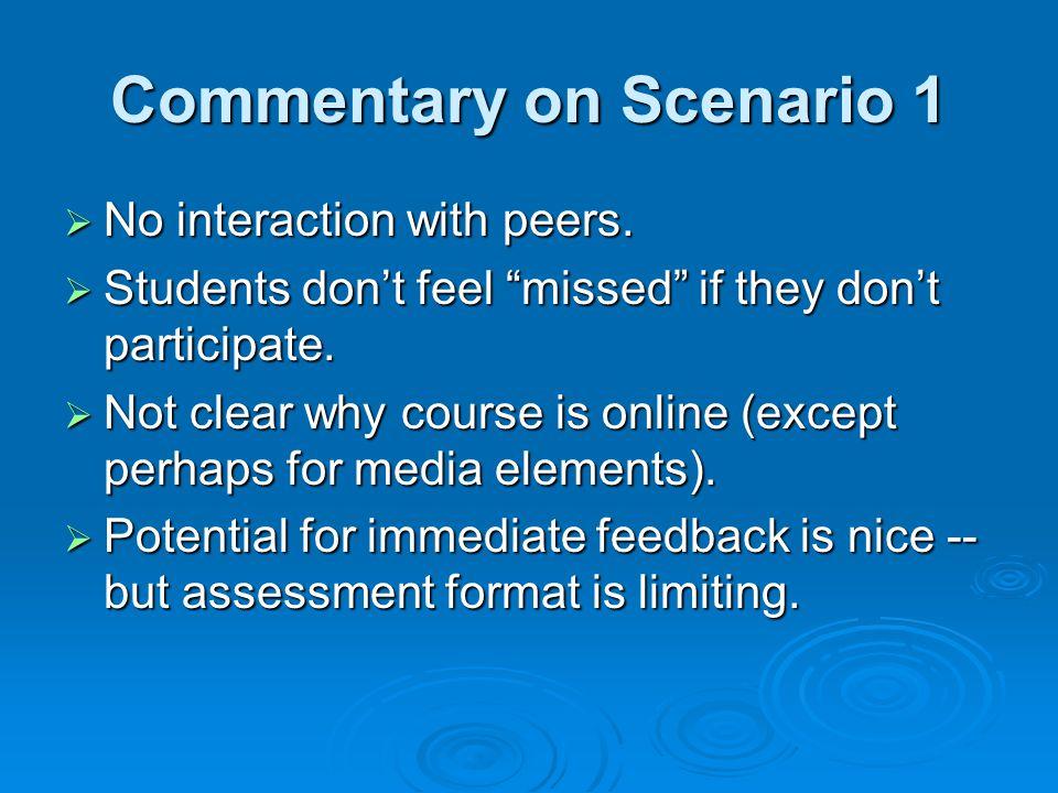 Commentary on Scenario 1