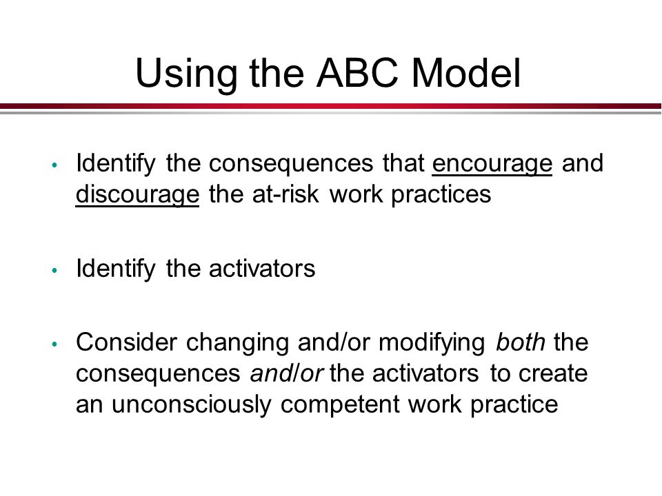 Using the ABC Model Identify the consequences that encourage and discourage the at-risk work practices.