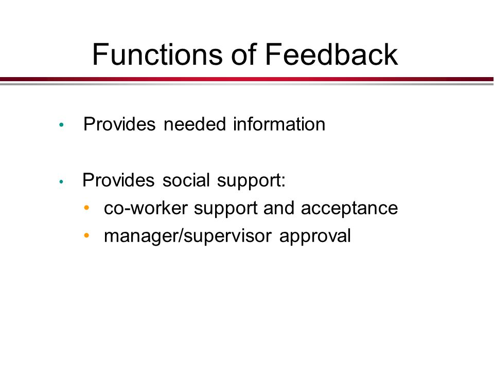 Functions of Feedback Provides needed information