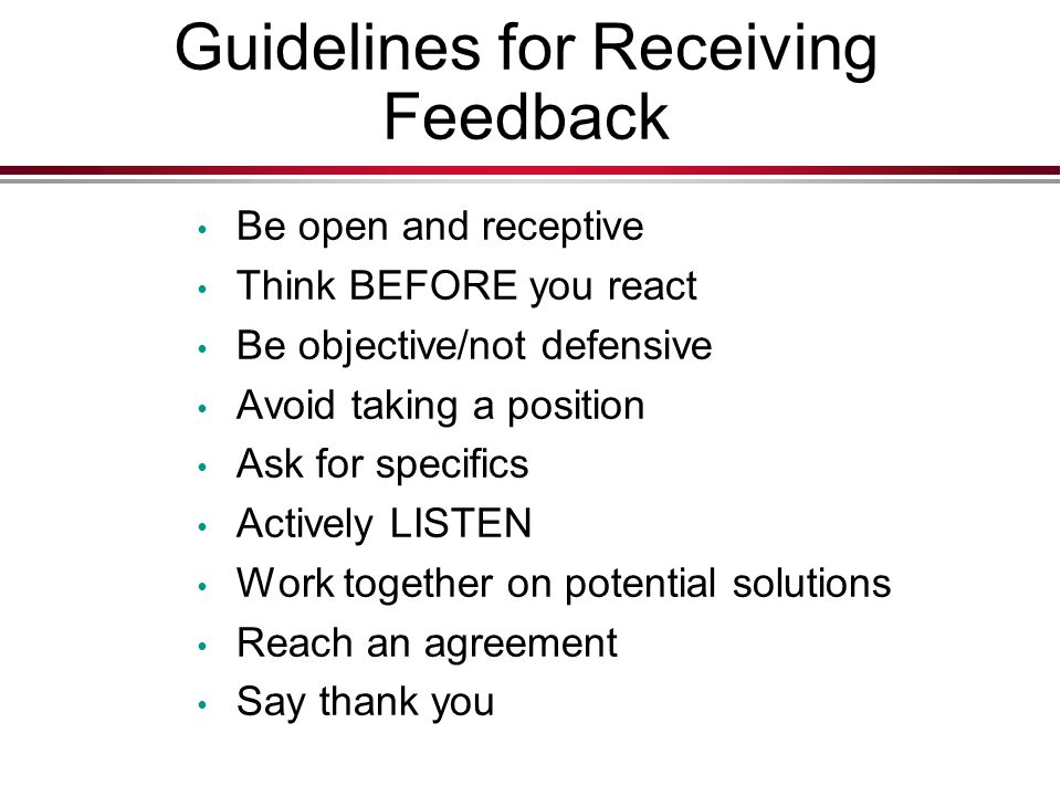 Guidelines for Receiving Feedback