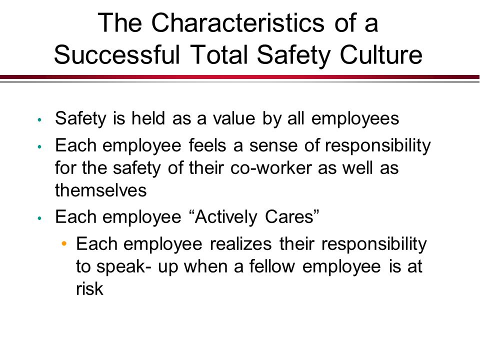 The Characteristics of a Successful Total Safety Culture