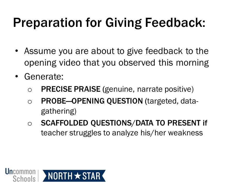 Preparation for Giving Feedback:
