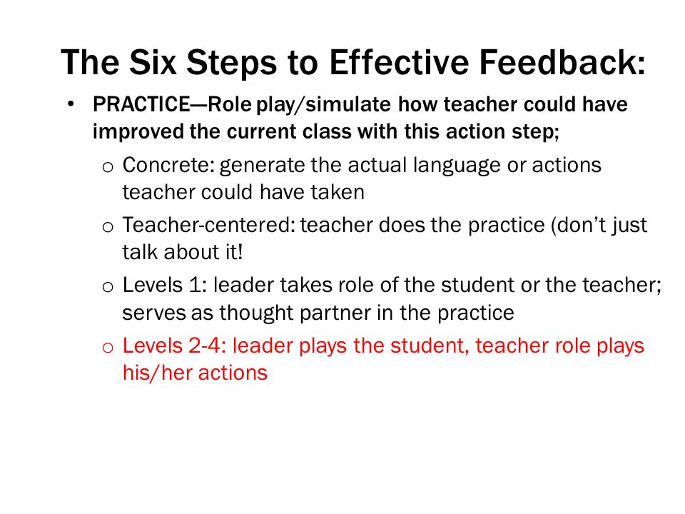 The Six Steps to Effective Feedback: