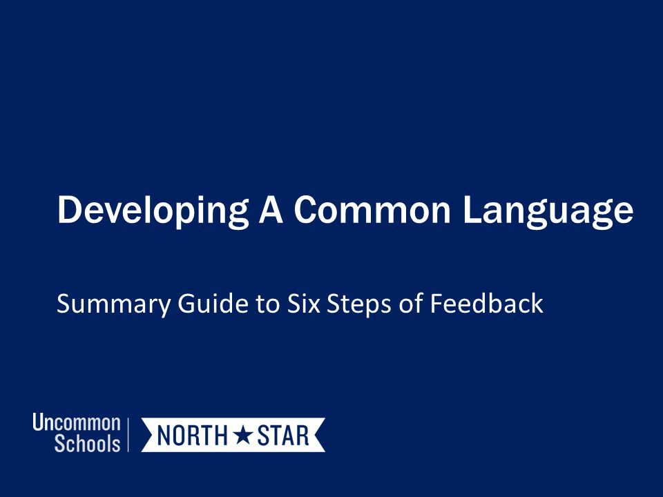 Developing A Common Language