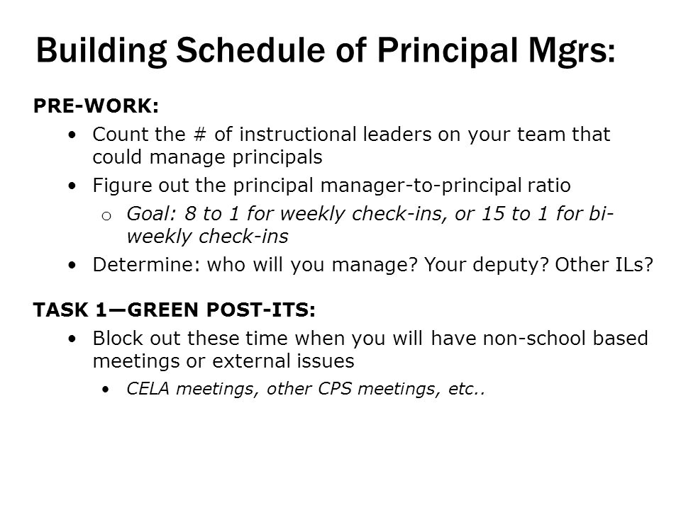 Building Schedule of Principal Mgrs: