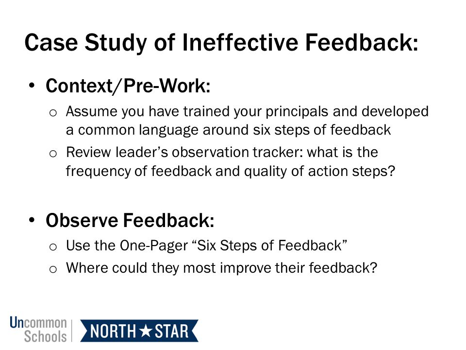 Case Study of Ineffective Feedback:
