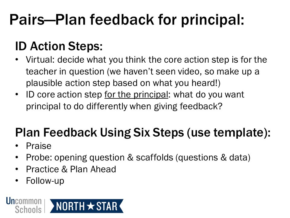 Pairs—Plan feedback for principal: