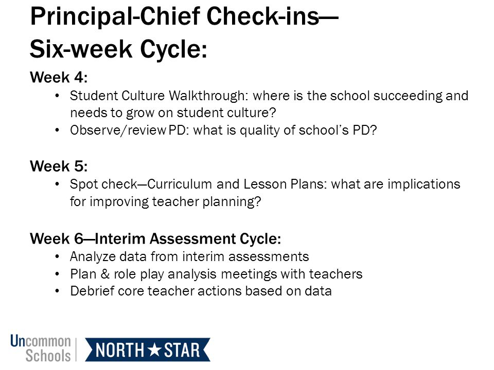 Principal-Chief Check-ins— Six-week Cycle: