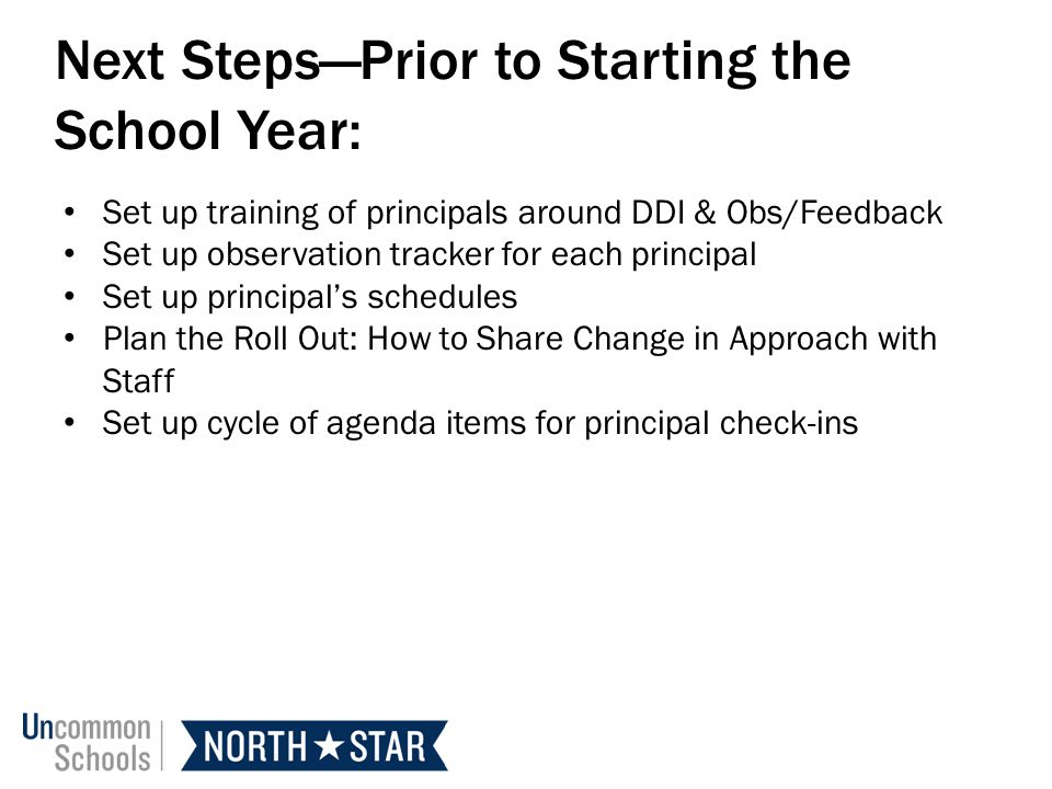 Next Steps—Prior to Starting the School Year: