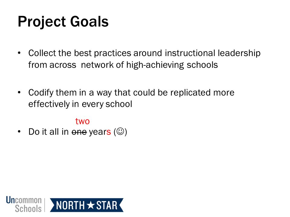 Project Goals Collect the best practices around instructional leadership from across network of high-achieving schools.