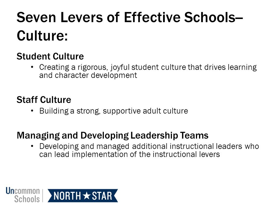 Seven Levers of Effective Schools--Culture: