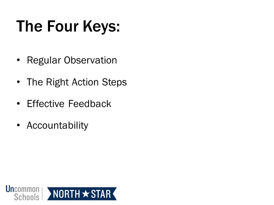 The Four Keys: Regular Observation The Right Action Steps
