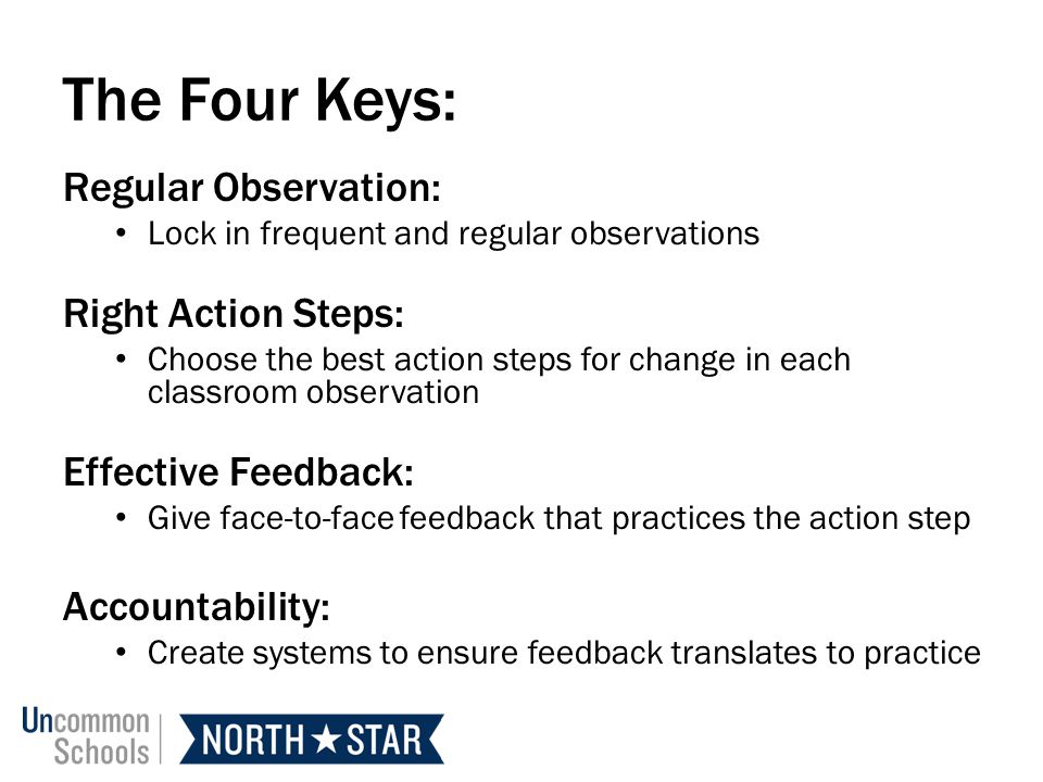 The Four Keys: Regular Observation: Right Action Steps: