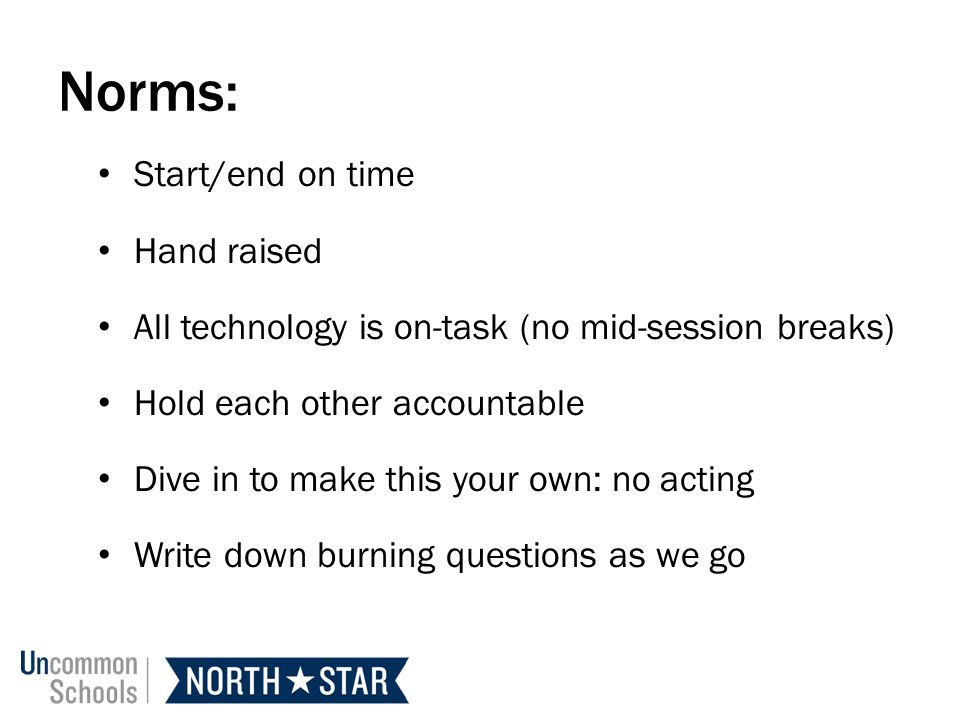 Norms: Start/end on time Hand raised