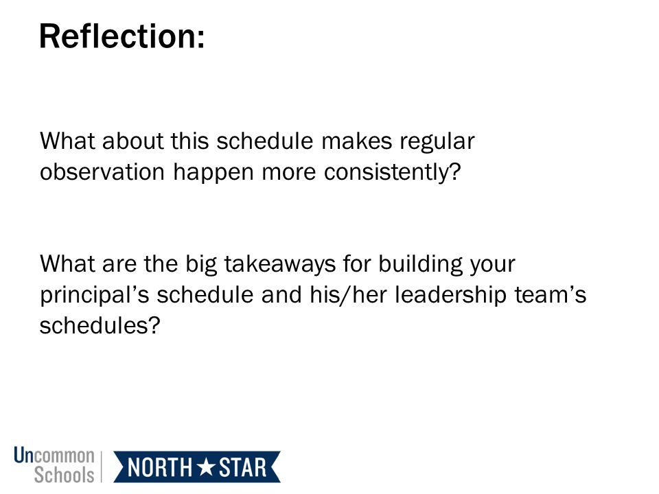 Reflection: What about this schedule makes regular observation happen more consistently