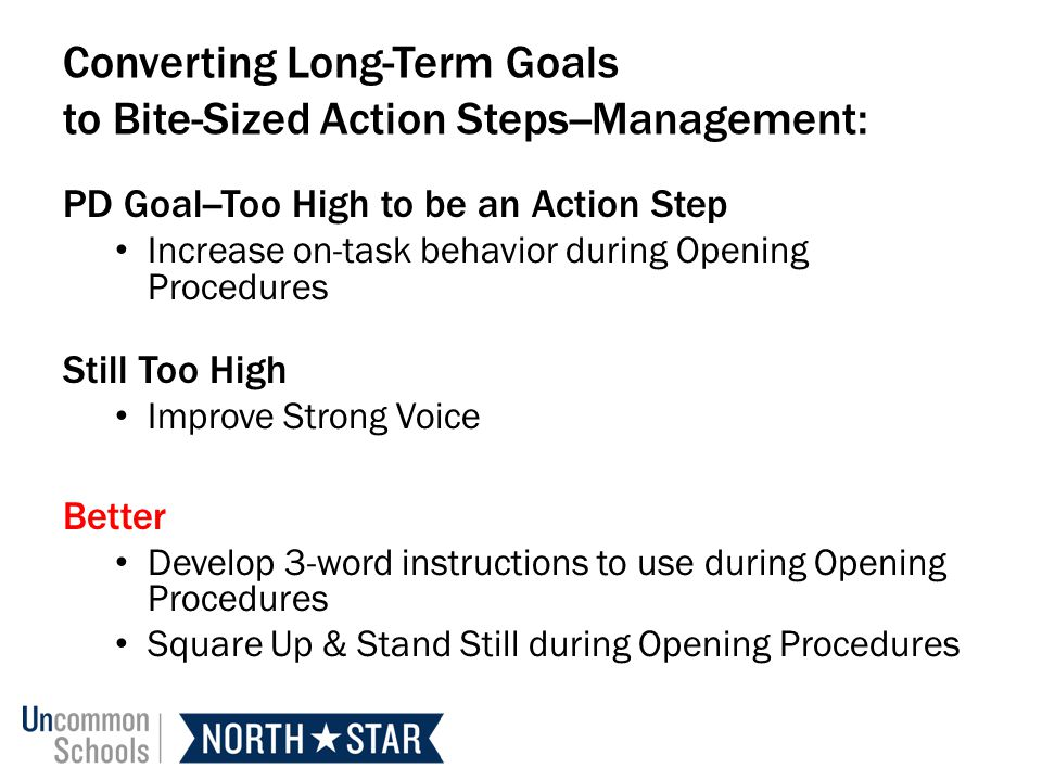 Converting Long-Term Goals to Bite-Sized Action Steps--Management: