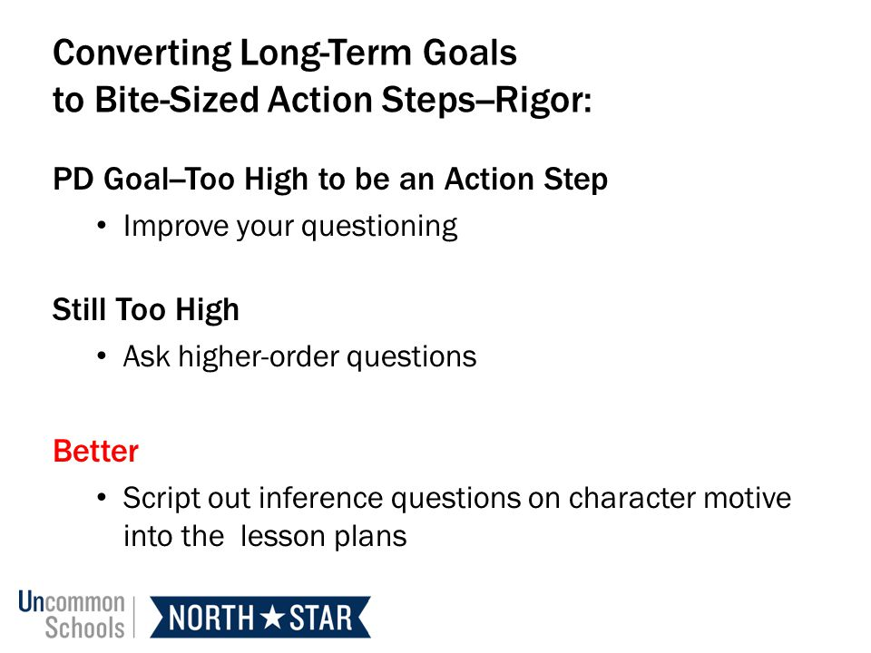 Converting Long-Term Goals to Bite-Sized Action Steps--Rigor: