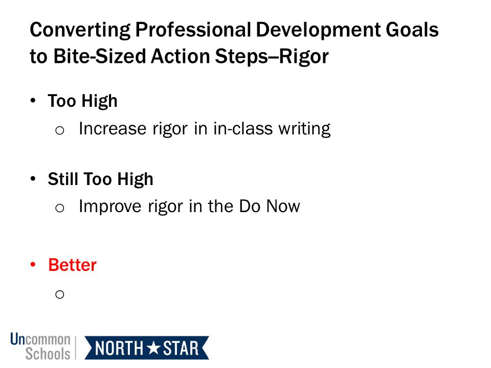 Converting Professional Development Goals to Bite-Sized Action Steps--Rigor