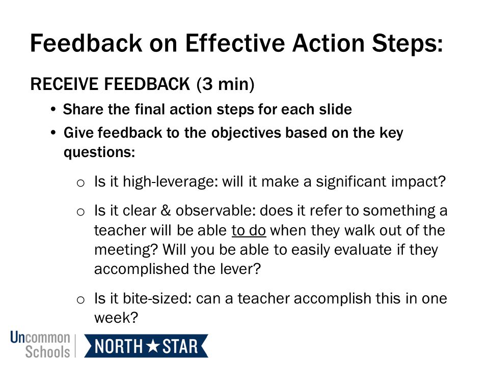 Feedback on Effective Action Steps:
