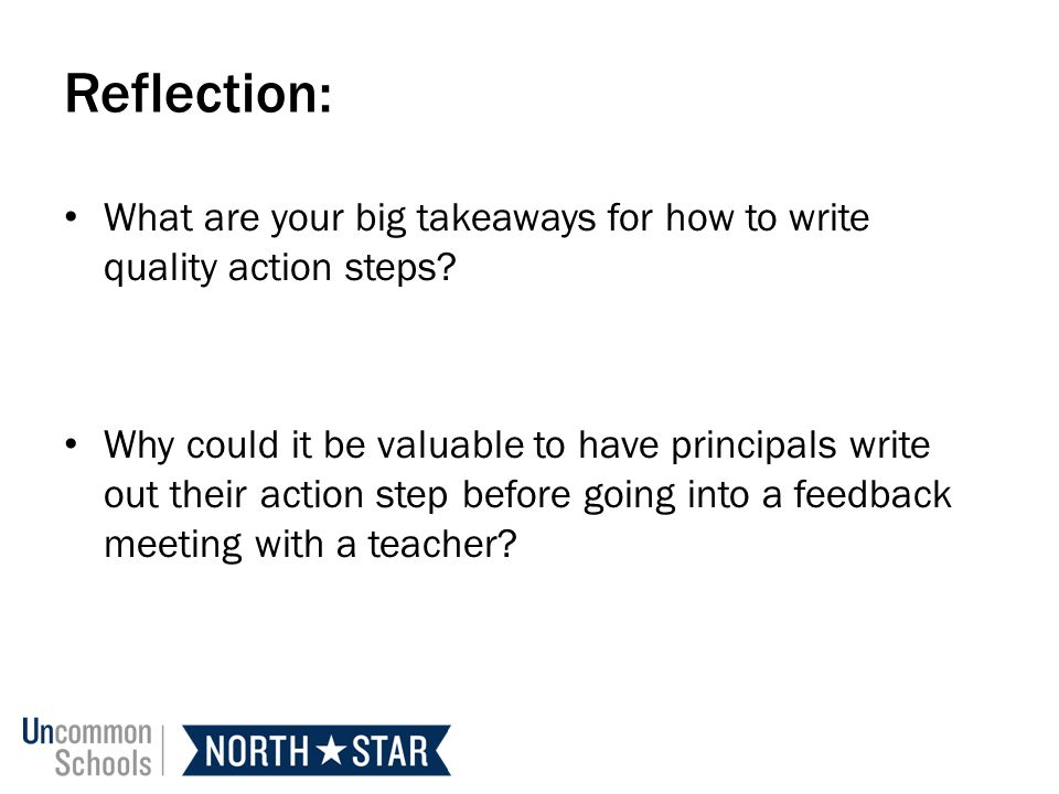 Reflection: What are your big takeaways for how to write quality action steps