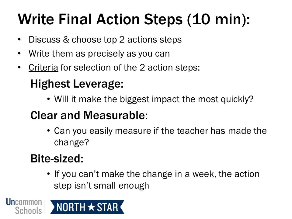 Write Final Action Steps (10 min):