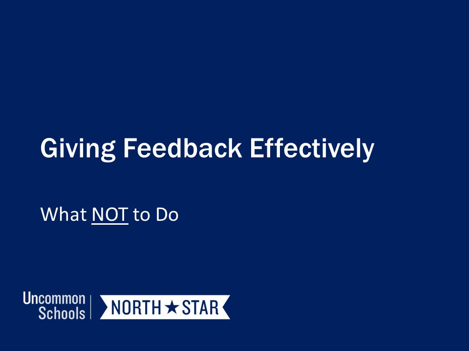 Giving Feedback Effectively