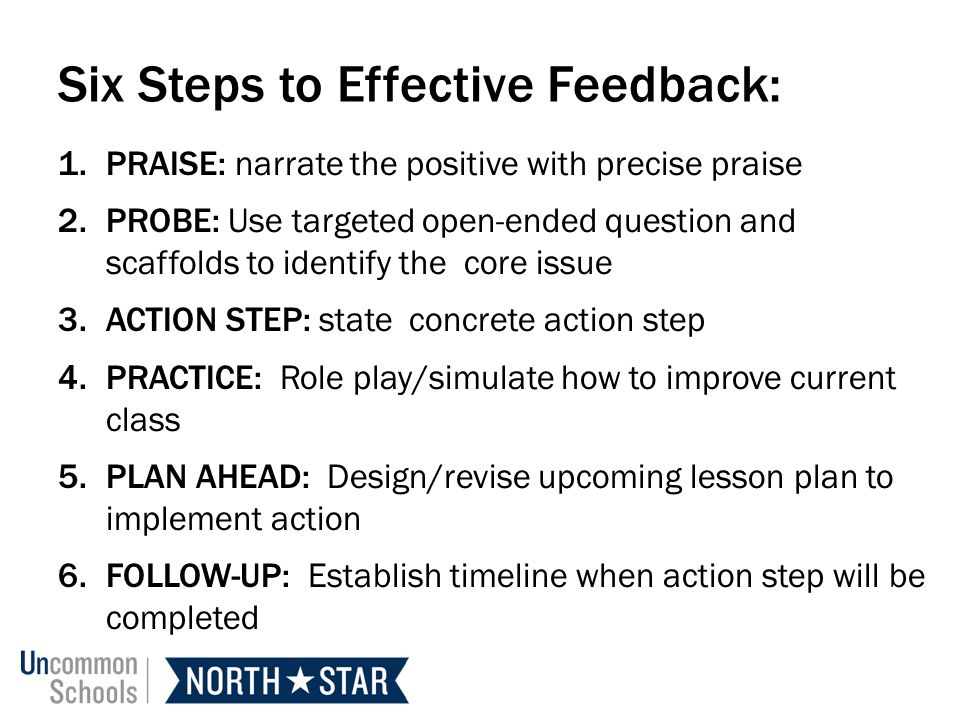 Six Steps to Effective Feedback: