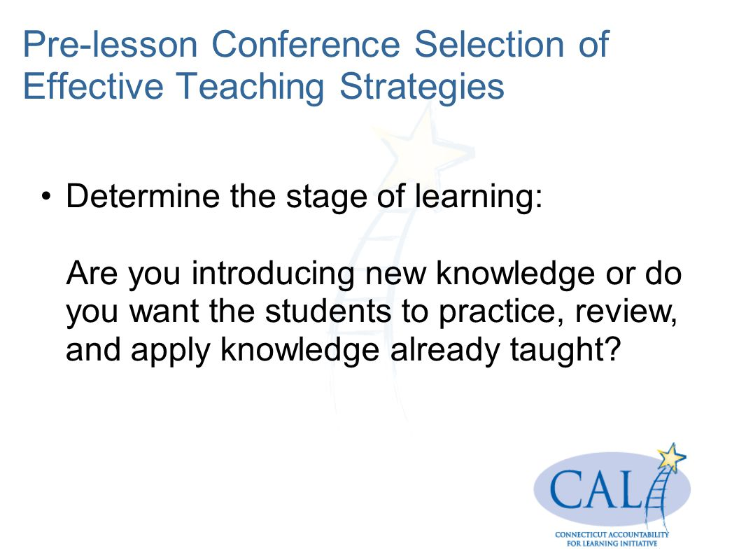 Pre-lesson Conference Selection of Effective Teaching Strategies