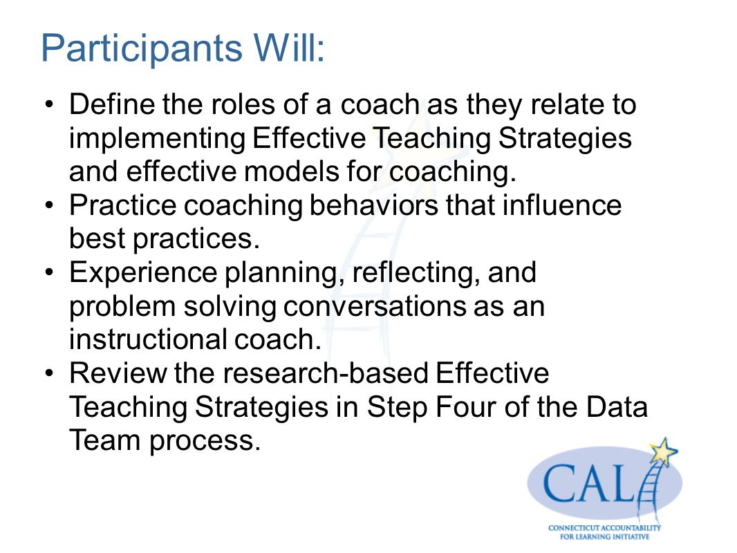 Participants Will: Define the roles of a coach as they relate to implementing Effective Teaching Strategies and effective models for coaching.