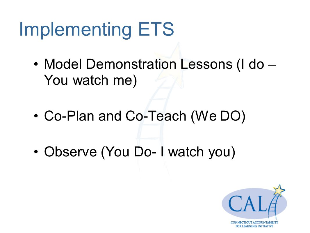 Implementing ETS Model Demonstration Lessons (I do – You watch me)