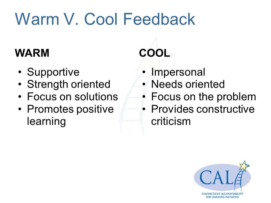 Warm V. Cool Feedback WARM COOL Supportive Strength oriented