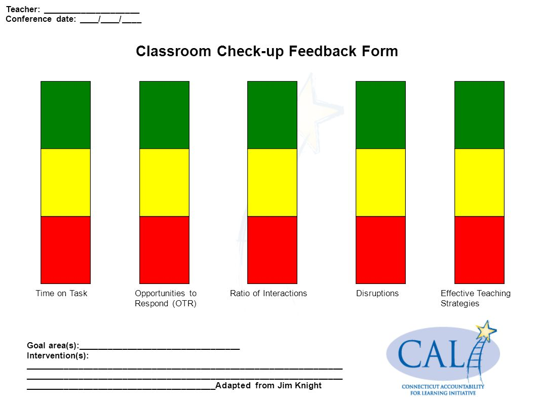 Classroom Check-up Feedback Form