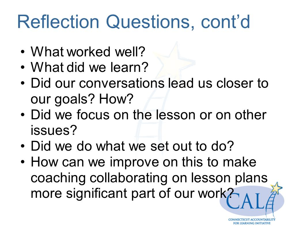 Reflection Questions, cont'd