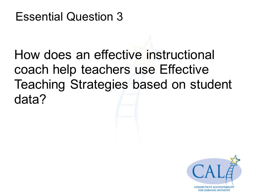 Essential Question 3 How does an effective instructional coach help teachers use Effective Teaching Strategies based on student data
