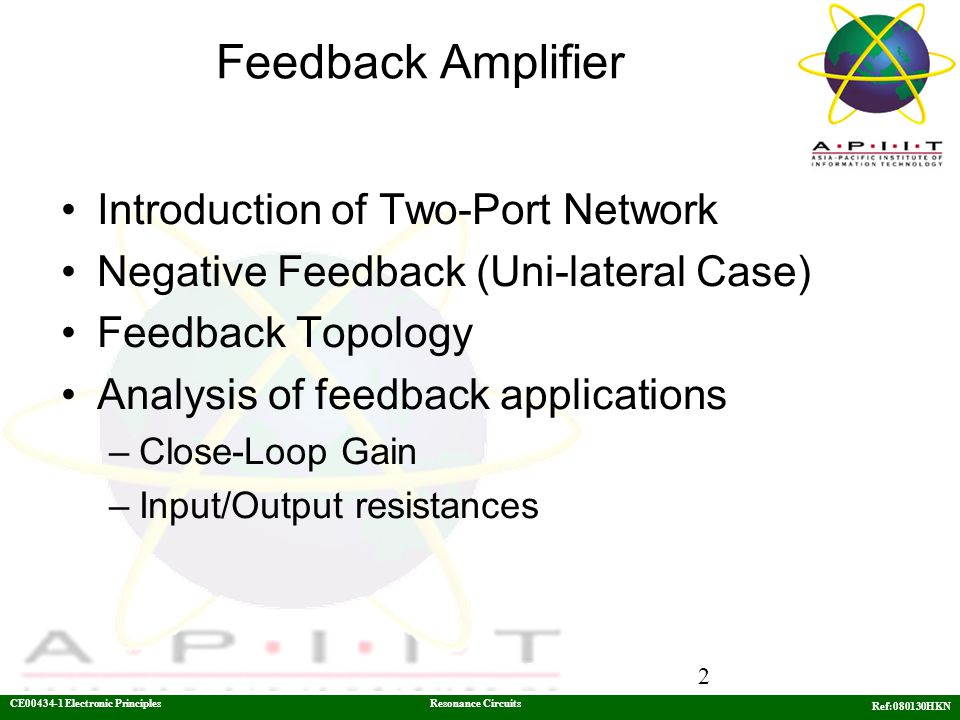 Feedback Amplifier Introduction of Two-Port Network
