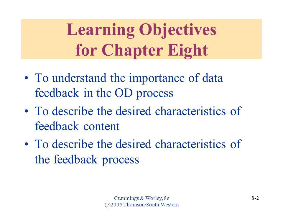 Learning Objectives for Chapter Eight