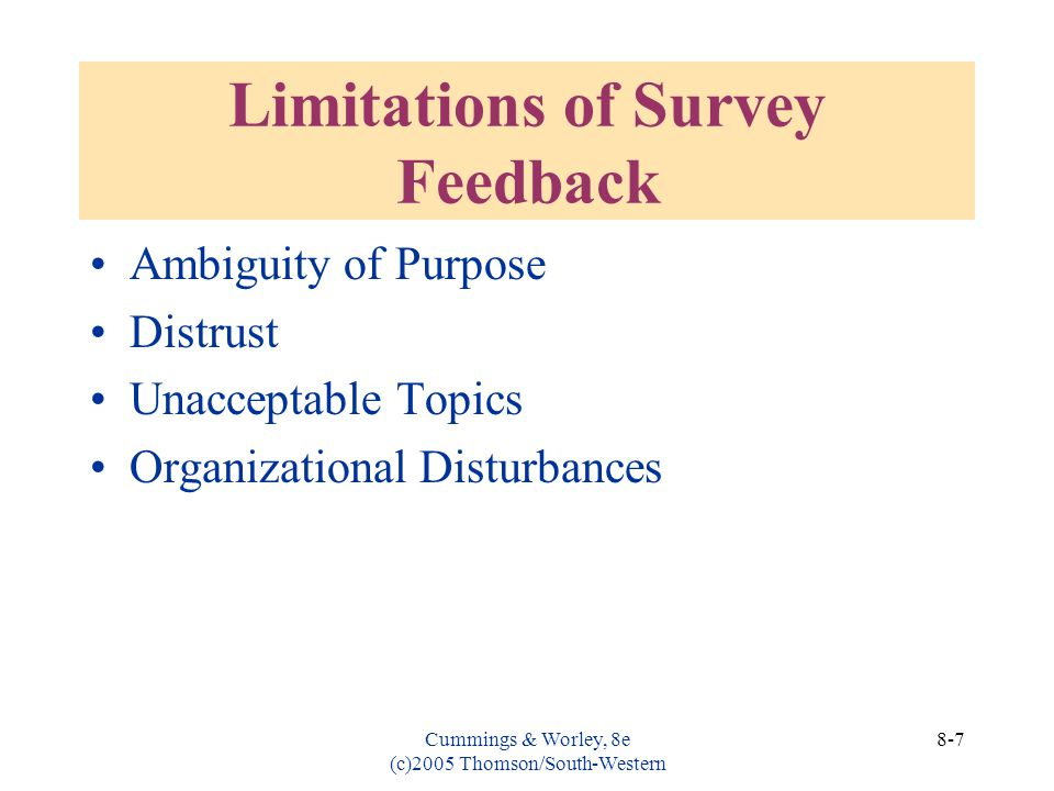 Limitations of Survey Feedback