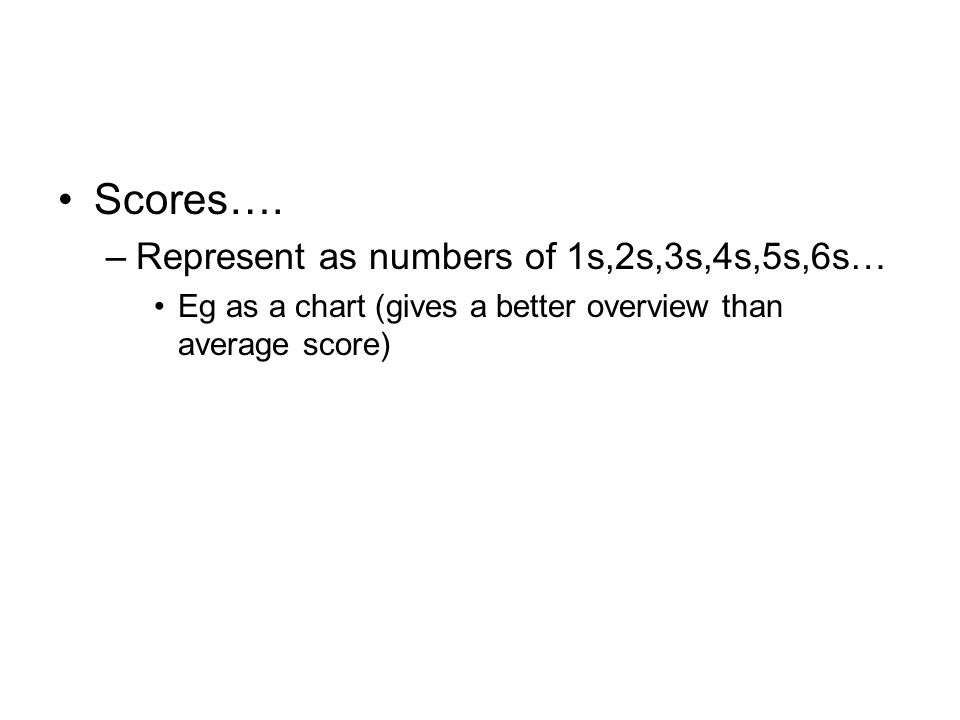 Scores…. Represent as numbers of 1s,2s,3s,4s,5s,6s…