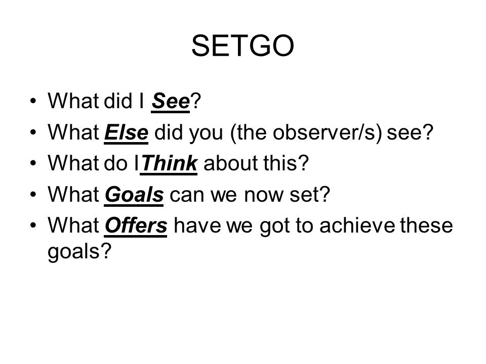 SETGO What did I See What Else did you (the observer/s) see