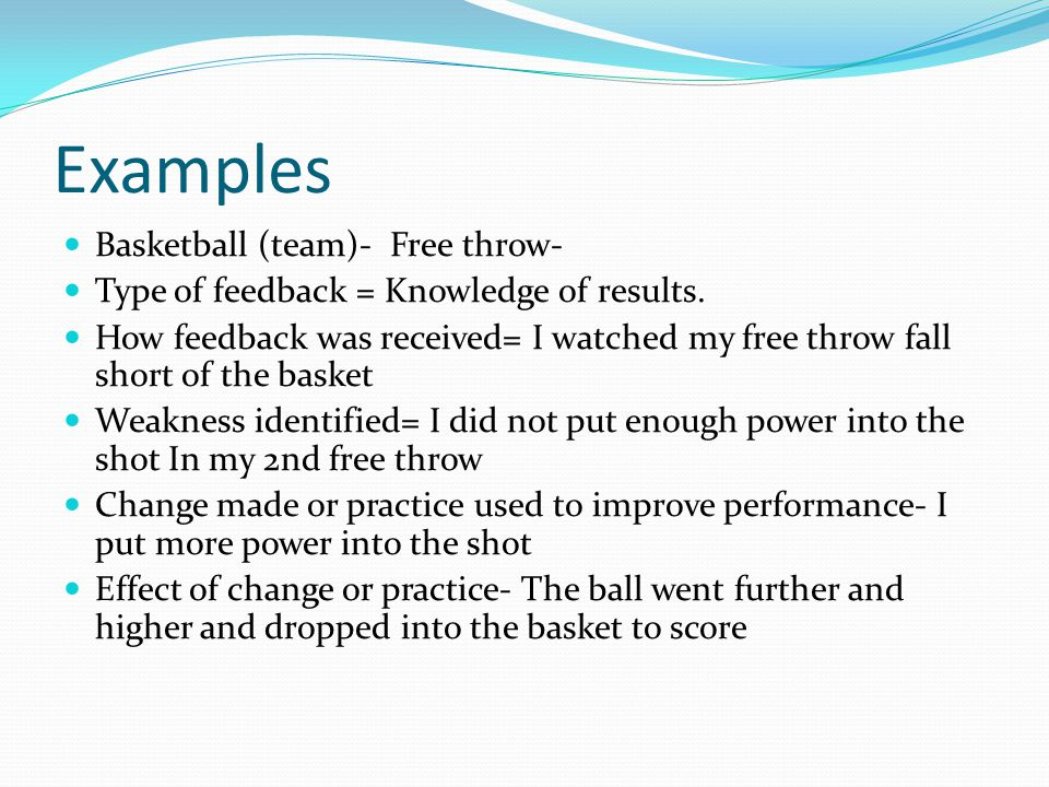 Examples Basketball (team)- Free throw-
