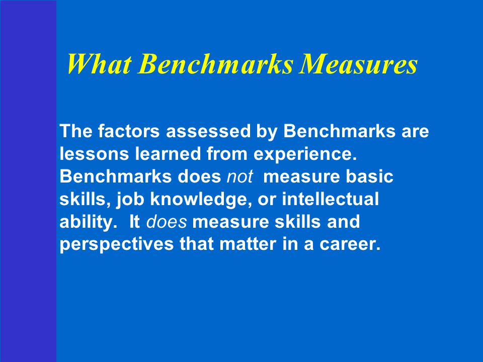 What Benchmarks Measures