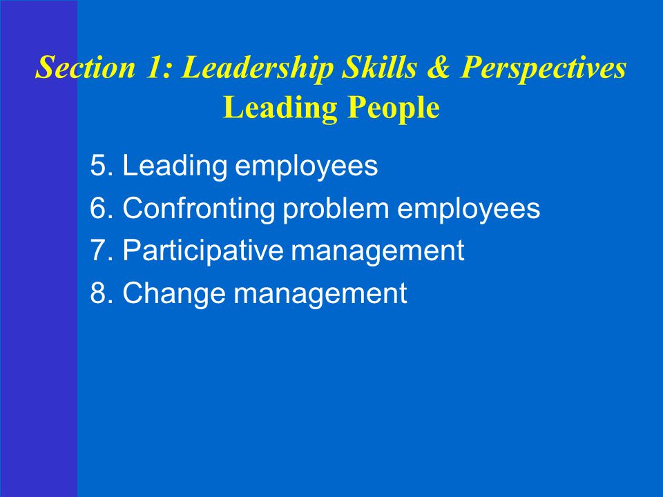 Section 1: Leadership Skills & Perspectives Leading People