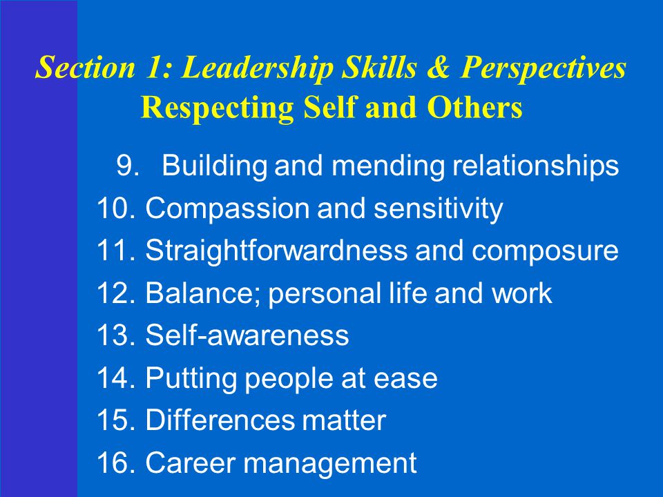 Section 1: Leadership Skills & Perspectives Respecting Self and Others