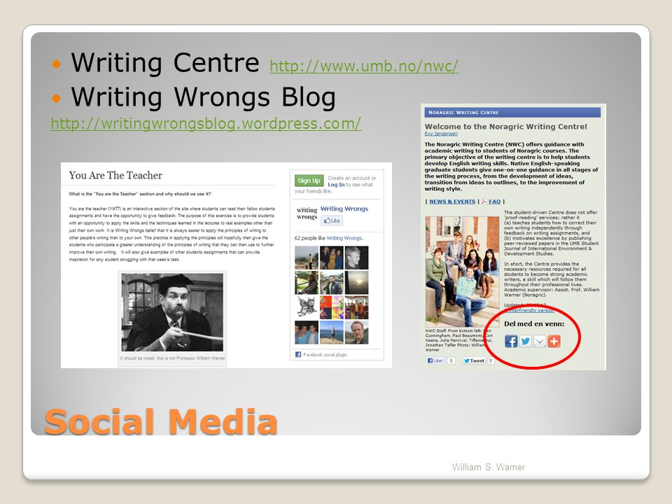 Social Media Writing Centre http://www.umb.no/nwc/ Writing Wrongs Blog