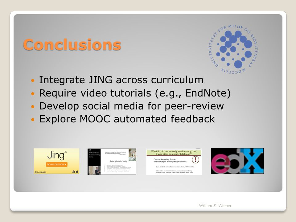 Conclusions Integrate JING across curriculum