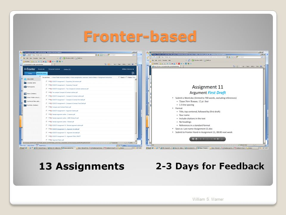 Fronter-based 13 Assignments 2-3 Days for Feedback William S. Warner